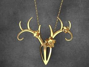 Feminine Antlers Pendant in Raw Brass