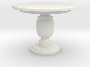 Miniature Leslie Center Table - Gramercy Home in White Natural Versatile Plastic: 1:12