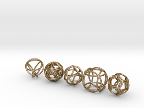 Platonic Spheres in Polished Gold Steel