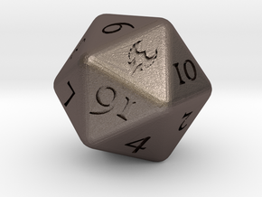 D20 D&D Paladin's Dice in Polished Bronzed-Silver Steel