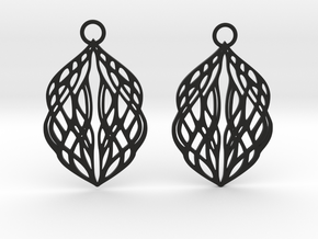 Stream earrings in Black Natural Versatile Plastic: Small