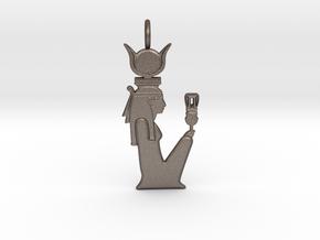 Hethert amulet w/sistrum in Polished Bronzed-Silver Steel