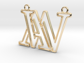 Monogram with initials A&W in 14K Yellow Gold
