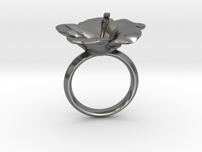 Hawaiian Hibiscus Ring in Polished Silver: 4.5 / 47.75