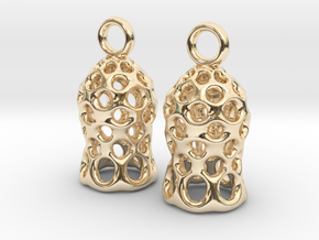 Tintinnid Dictyocysta Mitra Earrings in 14K Yellow Gold