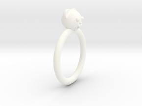Bear Head Ring in White Processed Versatile Plastic