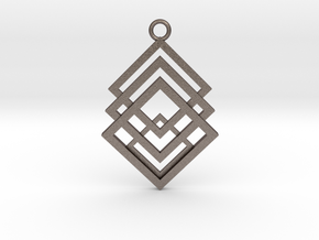Geometrical pendant no.1 in Polished Bronzed-Silver Steel: Large