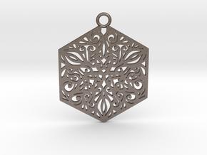 Ornamental pendant in Polished Bronzed-Silver Steel