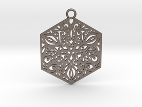 Ornamental pendant in Polished Bronzed-Silver Steel