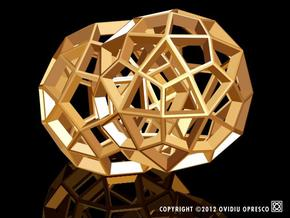 Polyhedral Sculpture #30D in Polished Gold Steel