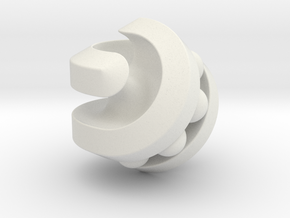 Hexasphericon Bearing in White Natural Versatile Plastic