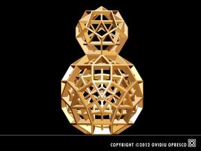 Polyhedral Sculpture #31 in Polished Gold Steel