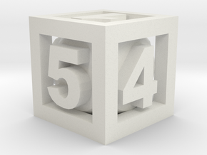 Double Dice D6 in White Natural Versatile Plastic