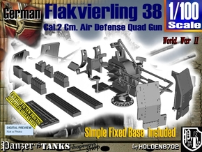 1/100 Ground Flakvierling 38 Set002 in Smooth Fine Detail Plastic