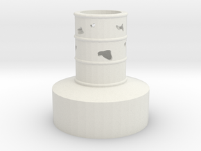 Lighted Barrel-Hollow-Corroded in White Natural Versatile Plastic