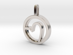 Heart  in Rhodium Plated Brass: Small