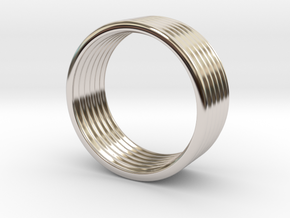 Wave Ring 5 mm 8,25 size in Rhodium Plated Brass