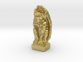 Gargoyle: Dollhouse scale, 50mm tall in Natural Brass