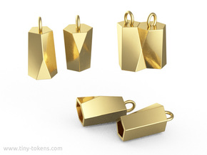 Scutoid Earrings (hollow version) in Polished Brass