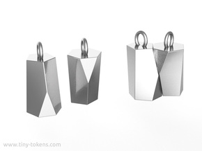 Scutoid Earrings (solid version) in Polished Silver