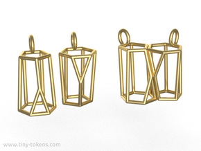 Scutoid Earrings (wireframe version) in Polished Brass