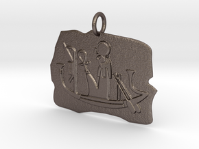 Ra's Solar Barque amulet in Polished Bronzed-Silver Steel