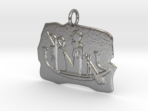 Ra's Solar Barque amulet in Natural Silver