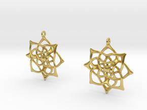 Flowery Earrings in Polished Brass