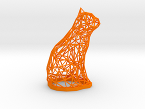Cat wire frame sculpture 7.7 inches tall in Orange Processed Versatile Plastic