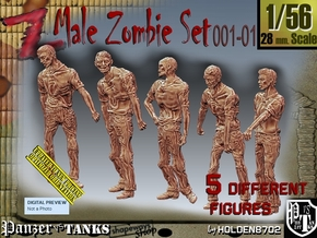 1/56 male zombie set001-01 in Smooth Fine Detail Plastic
