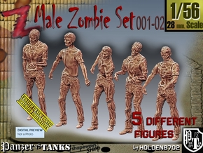1/56 male zombie set001-02 in Smooth Fine Detail Plastic