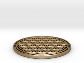 Flower of Life 7.23cm = 1 Om in Polished Gold Steel