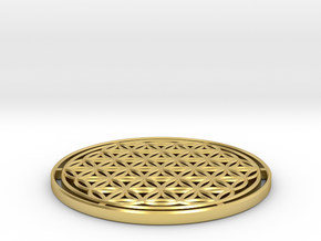 Flower of Life 7.23cm = 1 Om in Polished Brass