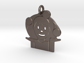 Juggler Emoji Pendant - Metal in Polished Bronzed-Silver Steel