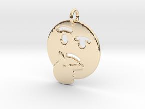 Thinker Emoji Pendant - Metal in 14k Gold Plated Brass