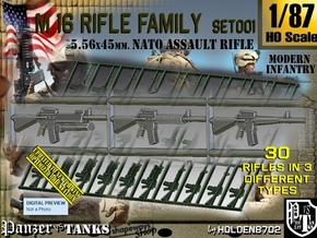 1/87 M16 Rifle Family Set001 in Smoothest Fine Detail Plastic