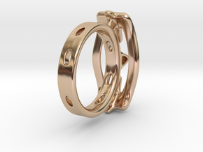 Abstract curved Ring in 14k Rose Gold Plated Brass: 7 / 54