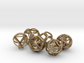 Metatronic Spheres w/ Nested Metatronic Solids  in Polished Gold Steel