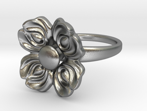 Floral Spinner Ring in Natural Silver (Interlocking Parts): 5 / 49