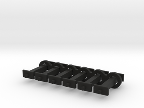 N Scale 11mm Fixed Coupling Drawbar x6 in Black Natural Versatile Plastic