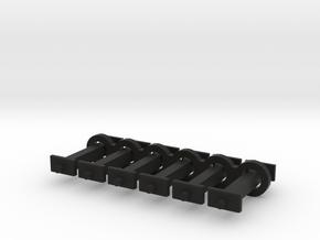 N Scale 11mm Fixed Coupling Drawbar x6 in Black Natural Versatile Plastic