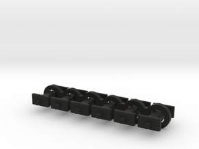 N Scale 6.5mm Fixed Coupling Drawbar x6 in Black Natural Versatile Plastic