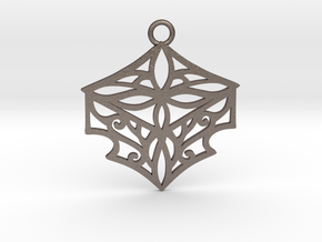 Adalina pendant in Polished Bronzed-Silver Steel: Large