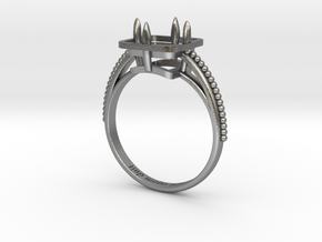solitaire ring with basket - princess cut 7x7 (Siz in Natural Silver