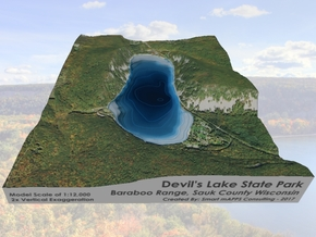 Devils Lake Map 1:12k -  Bathymetry in Matte Full Color Sandstone