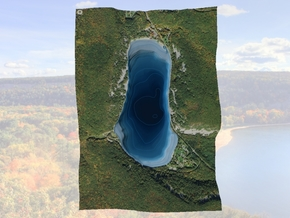 Devil's Lake Map - Bathymetry (1:9K) in Matte Full Color Sandstone