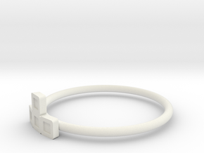 Block Puzzle Ring (Type-T) in White Natural Versatile Plastic