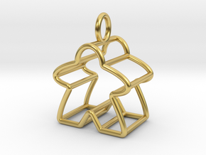 Meeple Wire-frame Pendant in Polished Brass