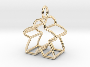 Meeple Wire-frame Pendant in 14K Yellow Gold