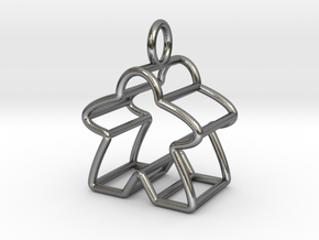 Meeple Wire-frame Pendant in Polished Silver